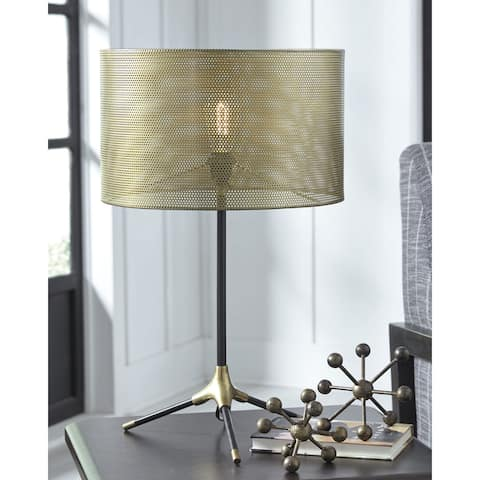 Mance Metal 27 Inch Table Lamp - Gray/Brass Finish