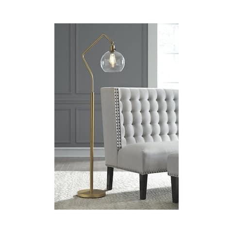 Marilee Floor Lamp - Antique Brass - Black/Brass