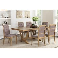 Himare 7 Piece Dining Set in Natural Wood Finish Upholstered in Mauve Seat Cushion