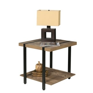Bourbon Foundry End Table, Wood and Inset Black Steel