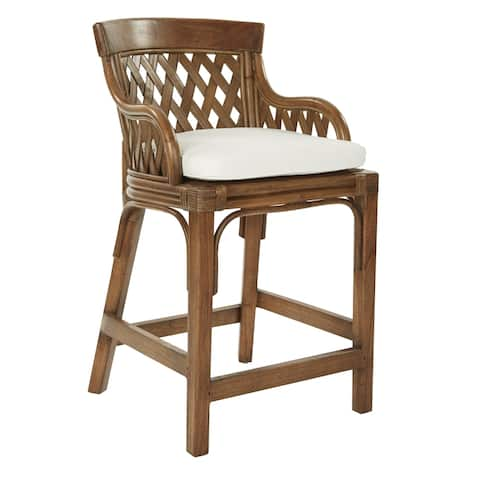 Plantation 24 inch Counter Stool with Woven Back Panels
