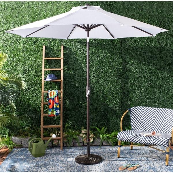 Safavieh Outdoor Ortega 9 Ft Crank Umbrella - White