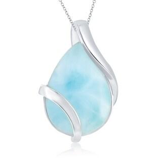 La Preciosa Sterling Silver Natural Larimar Pear-Shaped Designed 18'' Pendant Necklace