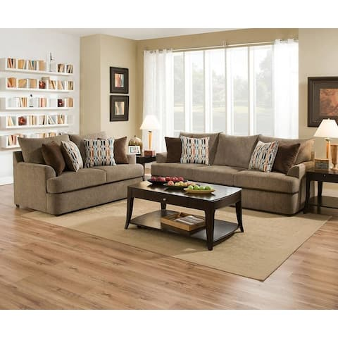 Simmons Upholstery Grandstand Walnut Sofa