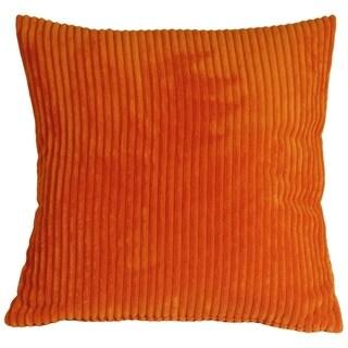 Pillow Decor - Wide Wale Corduroy 18x18 Dark Orange Throw Pillow