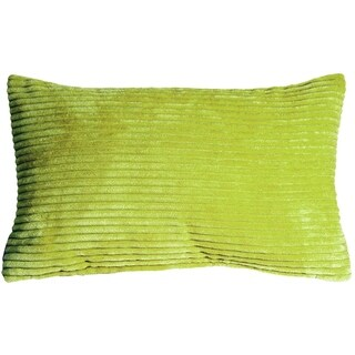 Pillow Decor - Wide Wale Corduroy 12x20 Green Throw Pillow