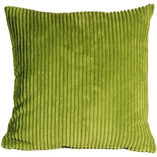 Pillow Decor - Wide Wale Corduroy 22x22 Green Throw Pillow
