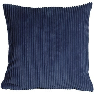 Pillow Decor - Wide Wale Corduroy 22x22 Dark Blue Throw Pillow