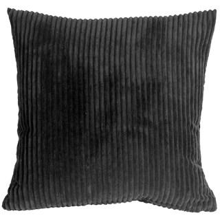 Pillow Decor - Wide Wale Corduroy 18x18 Black Throw Pillow