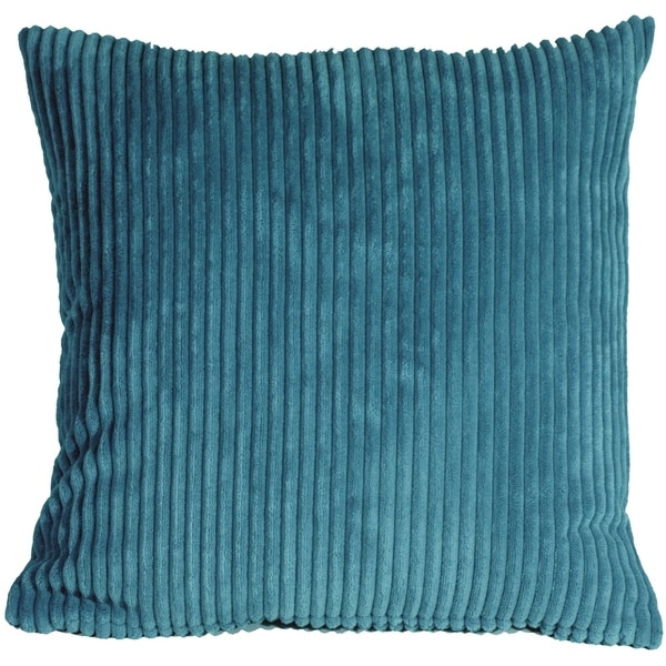 Pillow Decor - Wide Wale Corduroy 22x22 Marine Blue Throw Pillow