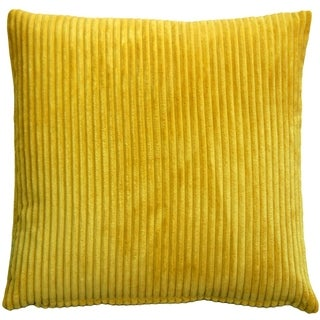 Pillow Decor - Wide Wale Corduroy 22x22 Yellow Throw Pillow