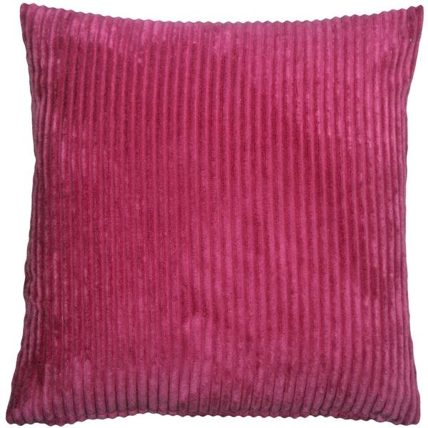 Pillow Decor - Wide Wale Corduroy 22x22 Magenta Pink Throw Pillow