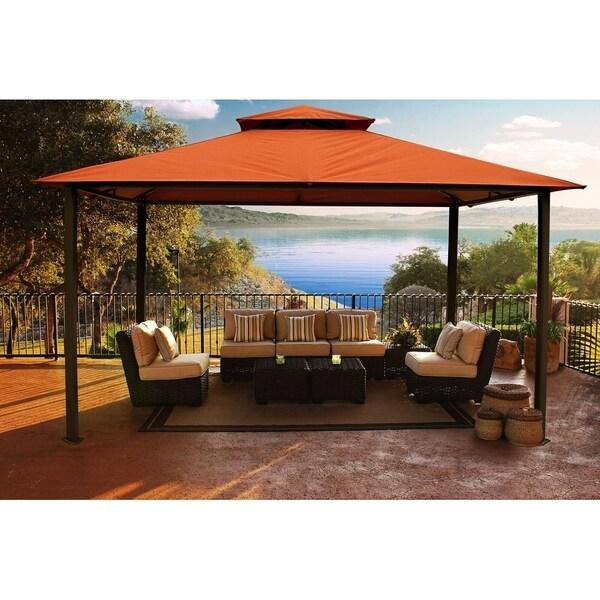 Avalon Brown Aluminum Frame 11' x 14'Gazebo with Rust Sunbrella Canopy