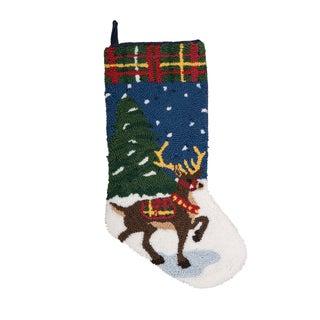 Winter Wonderland Hooked Christmas Stockings (Option: prancer reindeer hooked stocking)