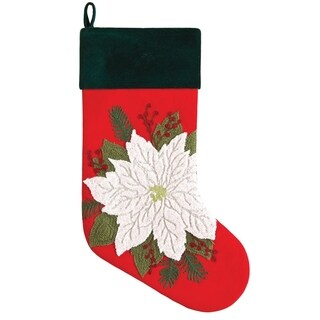 Merry and Bright Embroidered Christmas Stocking