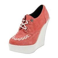 T.U.K. Shoes Womens Heels, Peachy Coral Suede Creeper Wedge