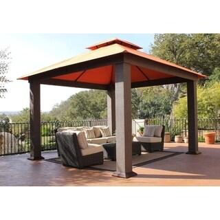 Seville Brown Aluminum Gazebo with Sunbrella Canopy