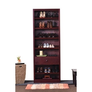 "Concepts in Wood Shoe Rack with Drawer - 30"" wide"