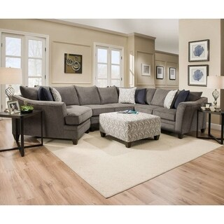 Simmons Upholstery Albany Pewter Sectional with Ottoman