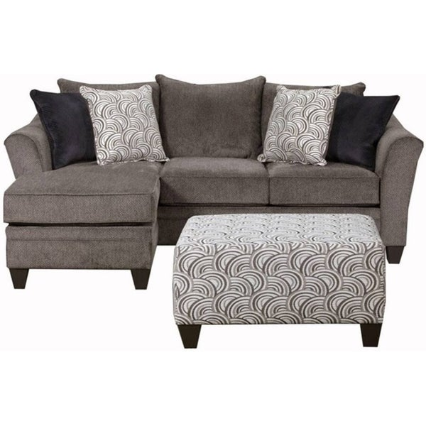 Shop Simmons Upholstery Albany Pewter Sofa Chaise On
