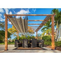 Paragon Brown Wood Finish Aluminum Frame Pergola with Sand Canopy
