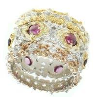 Michael Valitutti Palladium Silver Pink Tourmaline & White Sapphire Set of 3 Ring