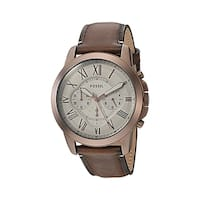 Fossil Men's FS5344 'Grant' Chronograph Stainless Steel and Brown Leather 44mm Round Watch