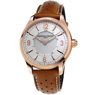 Frederique Constant Men's 'Horological Smartwatch' Brown Leather Watch