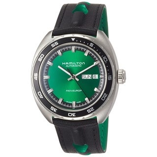 Hamilton Men's  'Pan Europ' Automatic Black Leather Watch