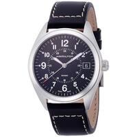 Hamilton Men's  'Khaki Field' Black Leather Watch
