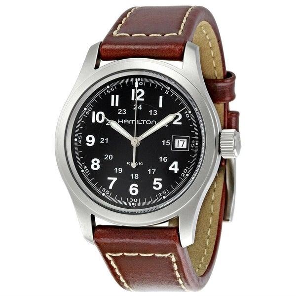 Hamilton Men's 'Khaki Field' Brown Leather Watch. Opens flyout.