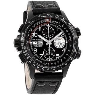 Hamilton Men's 'Khaki Aviation X-Wind' Chronograph Automatic Black Leather Watch