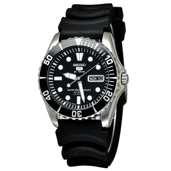 Seiko Men's '5' Automatic Black Rubber Watch