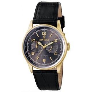 Invicta Men's 6751 'Vintage' Multi-Function Black Leather Watch