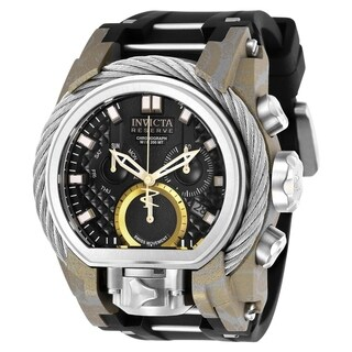 Invicta Men's 'Reserve' Bolt Zeus Black and Silver Polyurethane and Stainless Steel Watch