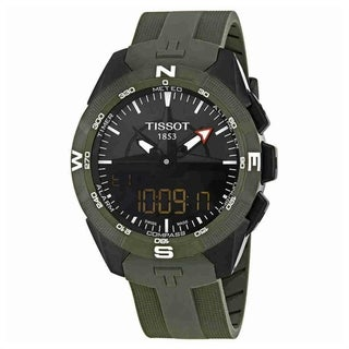 Tissot Men's 'T-Touch Expert' Analog-Digital Chronograph Green Silicone Watch