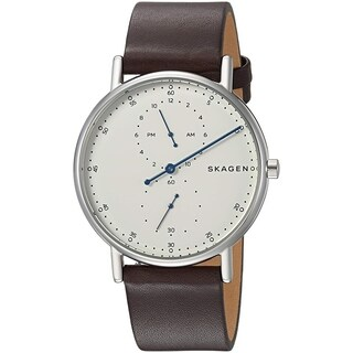 Skagen Men's 'Signatur' Dual Time Brown leather Watch