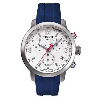 Tissot Men's 'PRC 200 Ice Hockey' Chronograph Blue Rubber Watch