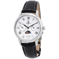 Orient Men's  'Sun And Moon' Moonphase Multi-Function Black Leather Watch