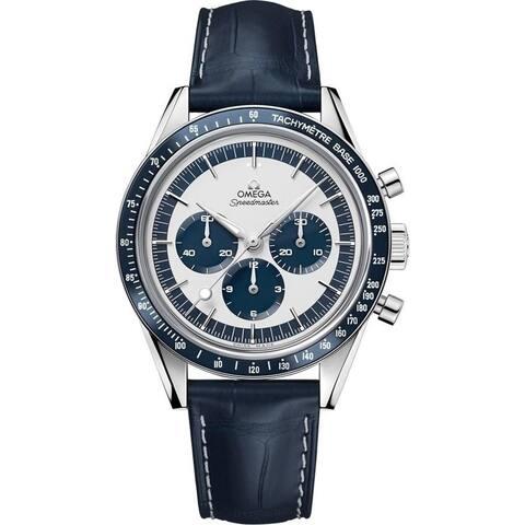 Omega Men's 311.33.40.30.02.001 'Speedmaster' Chronograph Hand Wind Blue Leather Watch