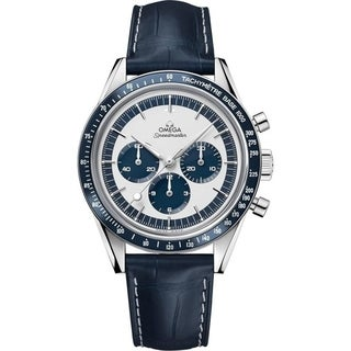 Link to Omega Men's 311.33.40.30.02.001 'Speedmaster' Chronograph Hand Wind Blue Leather Watch Similar Items in Men's Watches