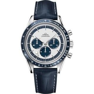 Omega Men's 'Speedmaster' Chronograph Hand Wind Blue Leather Watch