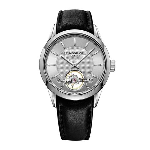 Raymond Weil Men's 'Freelancer' Automatic Black Leather Watch