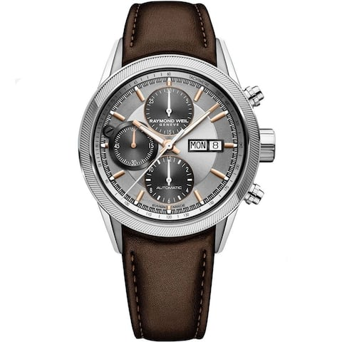 Raymond Weil Men's 'Freelancer' Chronograph Automatic Brown Leather Watch