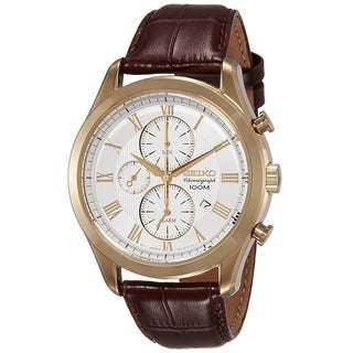 Seiko Men's SNAF72 'Couturier' Chronograph Brown Leather Watch