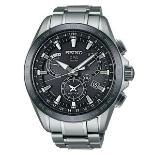 Seiko Men's SSE045 'Astron GPS Solar' Dual Time World Time Titanium Watch