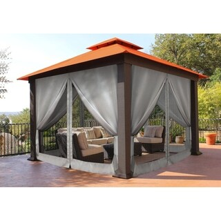 Barcelona Brown Aluminum and Sunbrella Fabric 12-foot x 12-foot Mosquito Net Gazebo