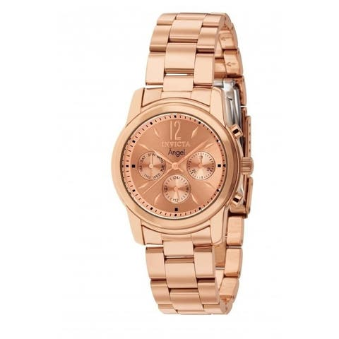 Invicta Women's 'Angel' Chronograph Rose-Tone Stainless Steel Watch