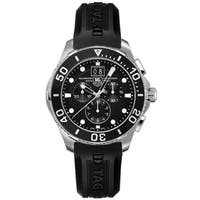 Tag Heuer Men's  'Aquaracer' Chronograph Black Rubber Watch