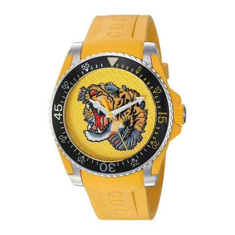 Gucci Unisex 'Drive' Embroidered Tiger Yellow Rubber Watch